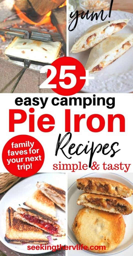 pinnable pinterest image of pie iron recipes