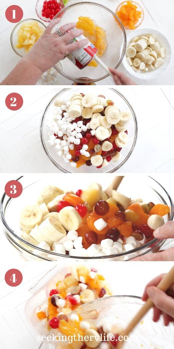 image with step by step pictures for making canned fruit salad.