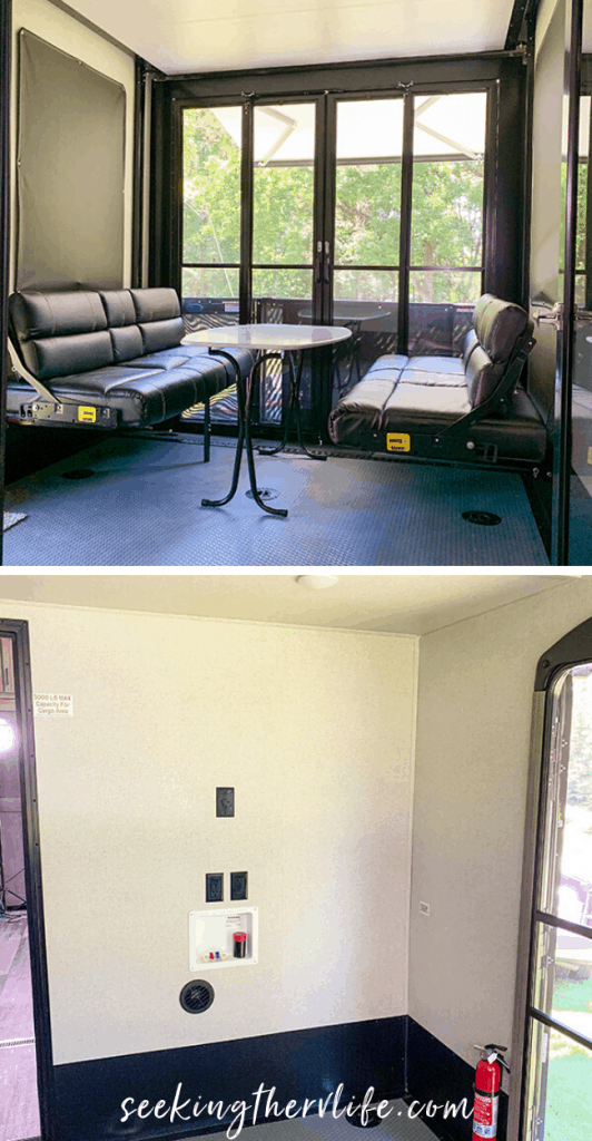 Interior image of Keystone Raptor 351 garage space. 2 bench sofa seats with table, and a blank wall prepped for washer and dryer.