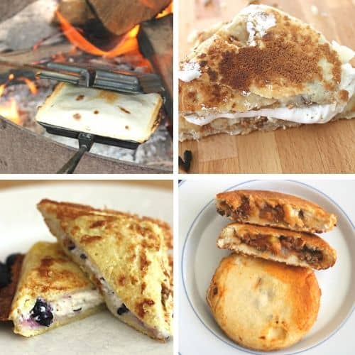 4 picture square image of pie iron recipes - pudgie pie blueberry french toast, pie iron tacos, S'more pie, and fajita pie