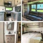 Pinterest pinnable image of Raptor Toy Hauler kitchen, bathroom, bedroom, living room