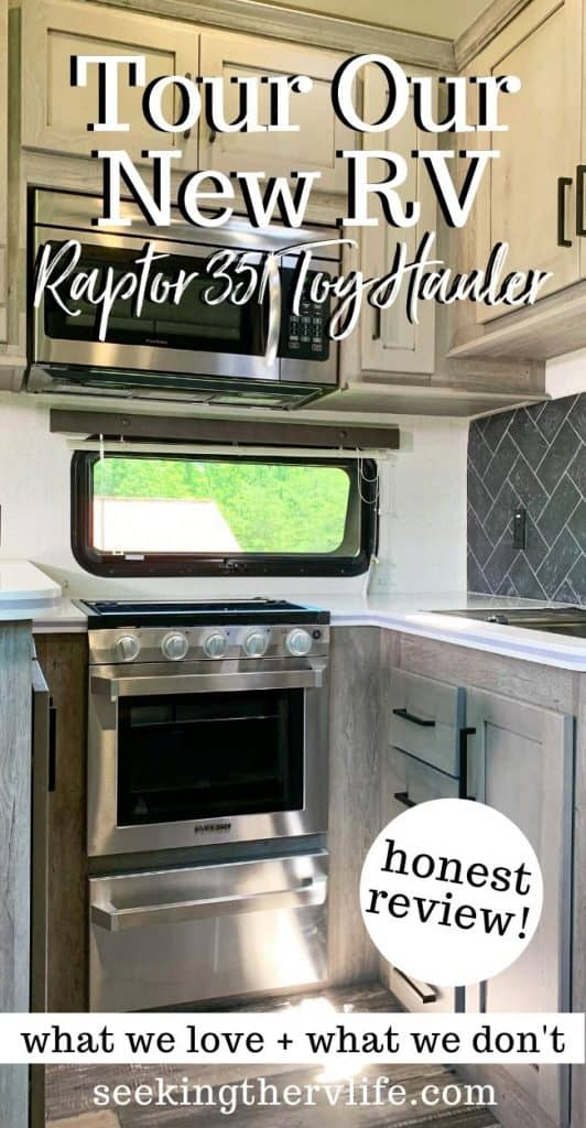 Pinterest pinnable image of Raptor Toy Hauler kitchen.