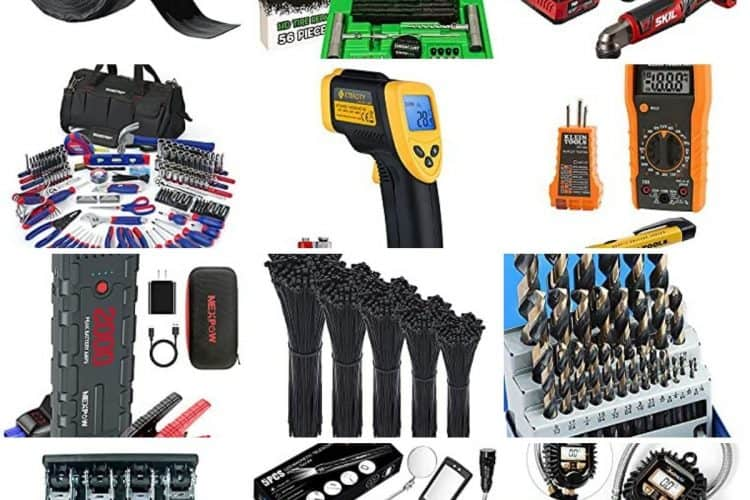 A square compilation image showing 12 of the 30+ recommended items that you need to keep in your RV at all times.