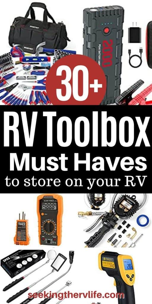 Pinterest pinnable image with examples of items every RVer needs in his or her toolbox.