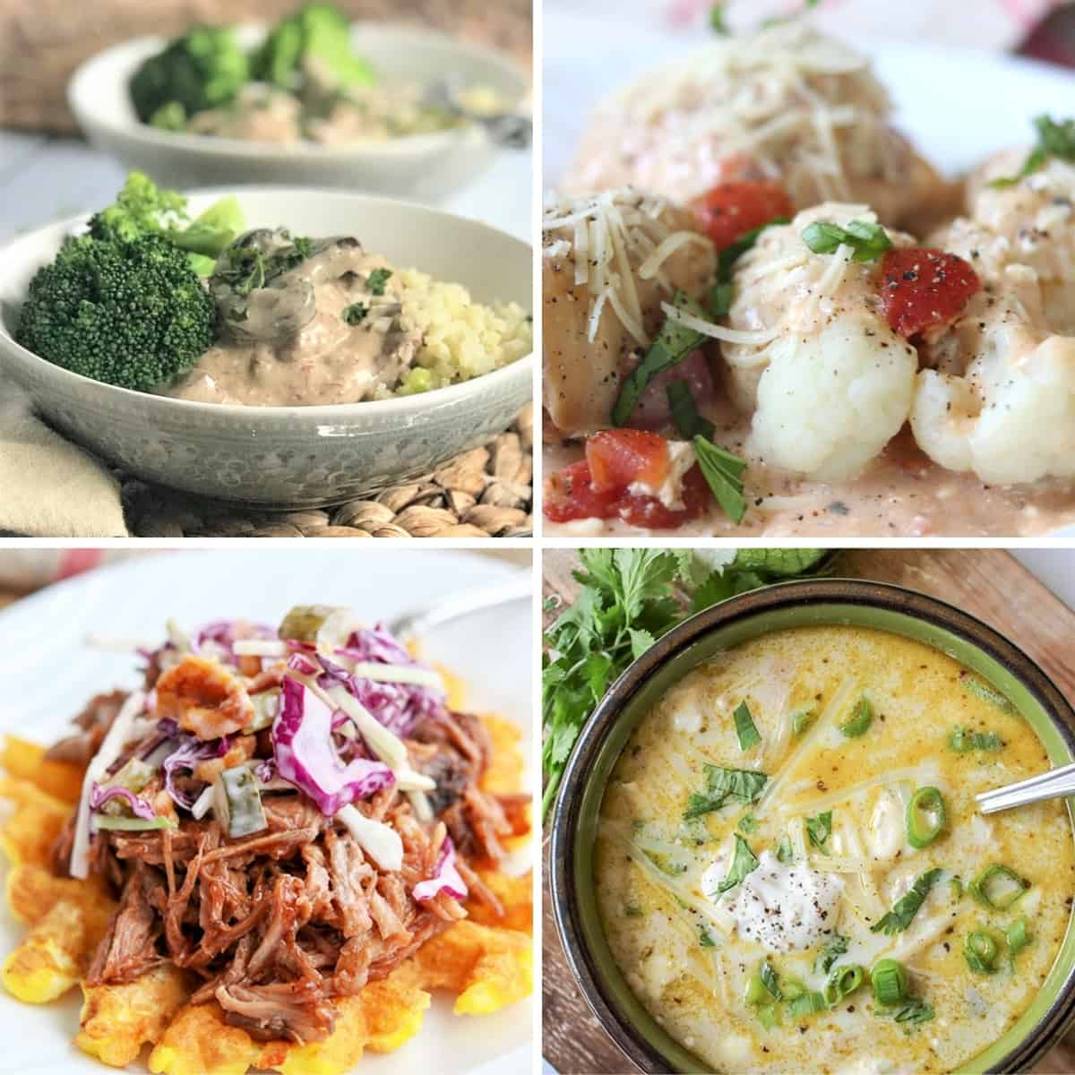4 part square image featuring four slow cooker recipes that are easy to make in your tiny RV kitchen. Beef stroganoff, italian chicken thighs, pulled pork, and green enchilada chicken soup