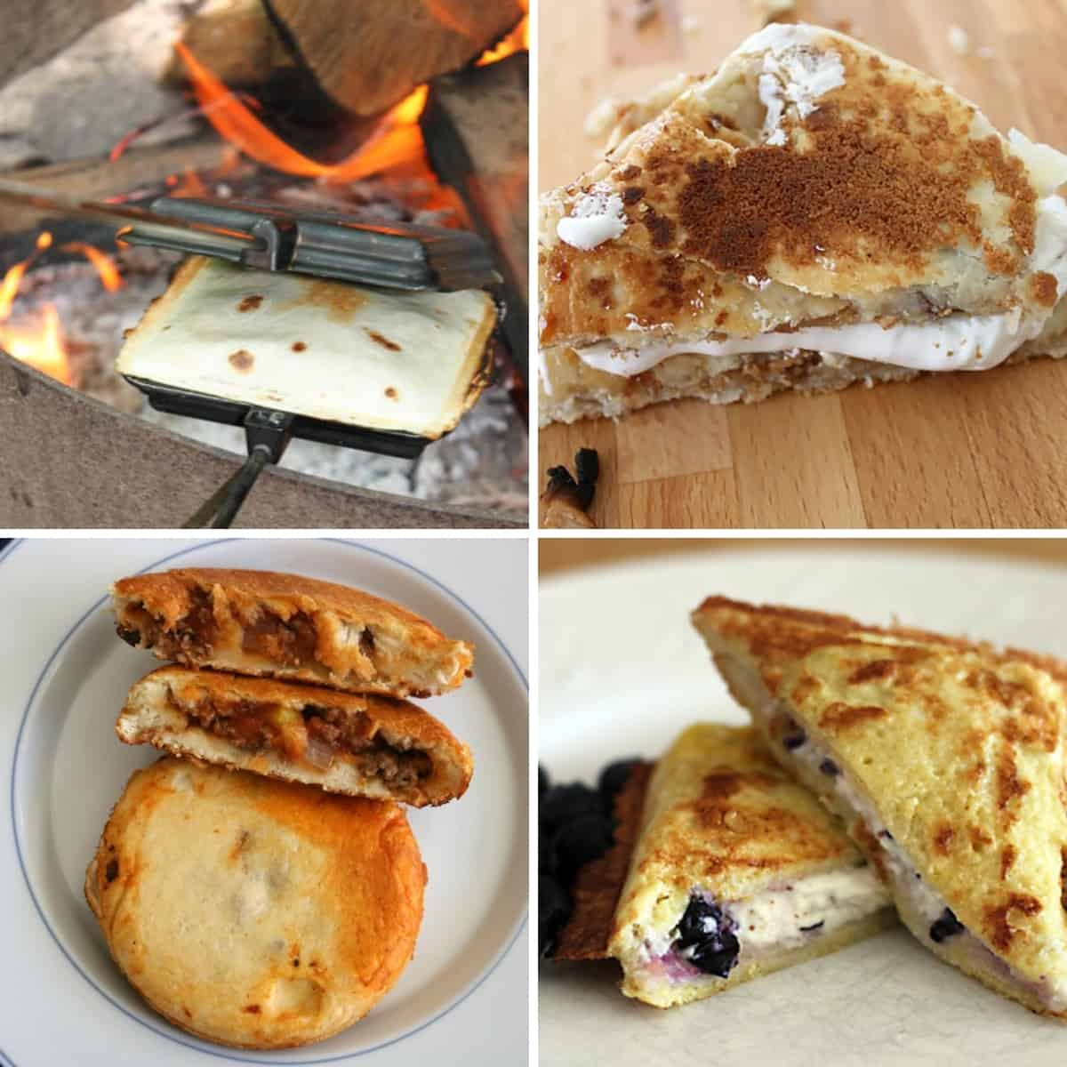 4 part square feature image of 4 completed pie iron recipes.