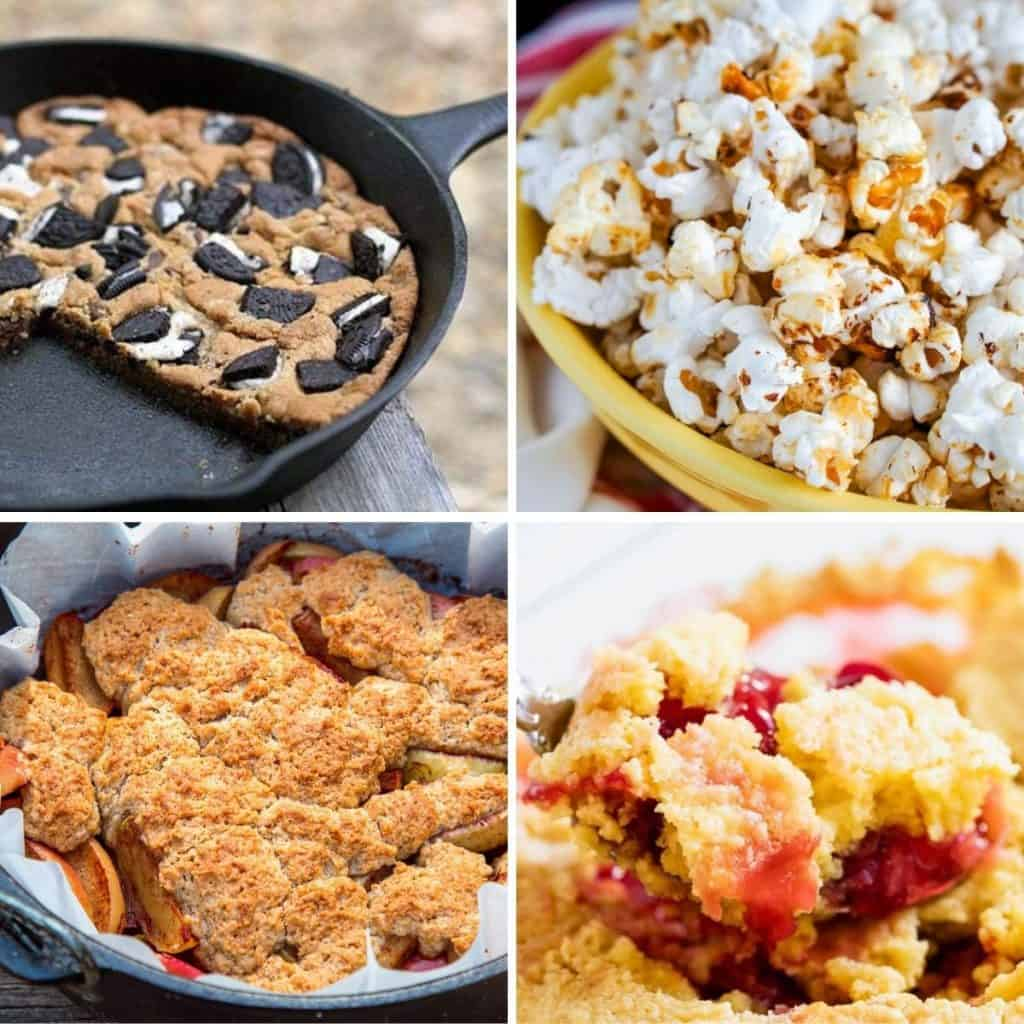 Square feature image showing 4 dutch oven desserts, oreo cookie, kettle corn, peach cobbler, and a dump cake