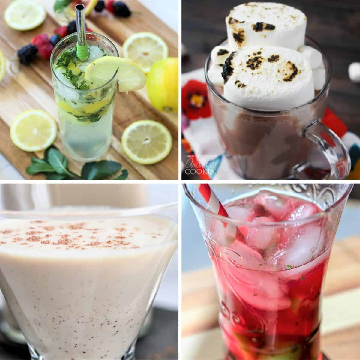 4 part image depicing cocktails such as irish cream, lemon mojitos, cranberry mojitos, and a smore martini