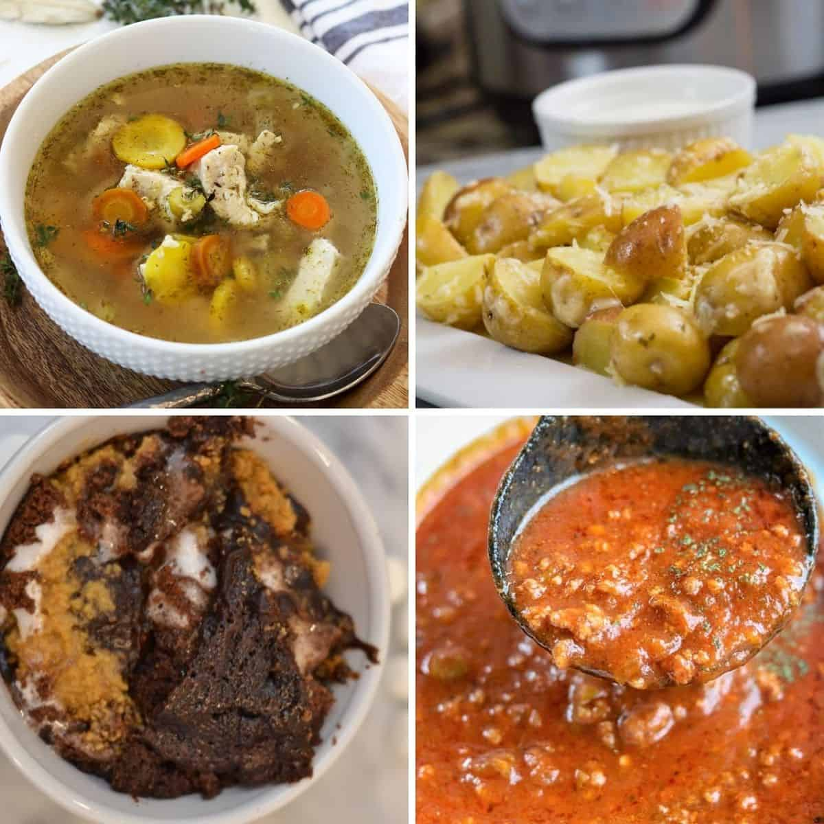 4 part square image showing 4 different instant pot recipes you can easily cook in your rv - chicken soup, spaghetti sauce, potatoes, and brownie
