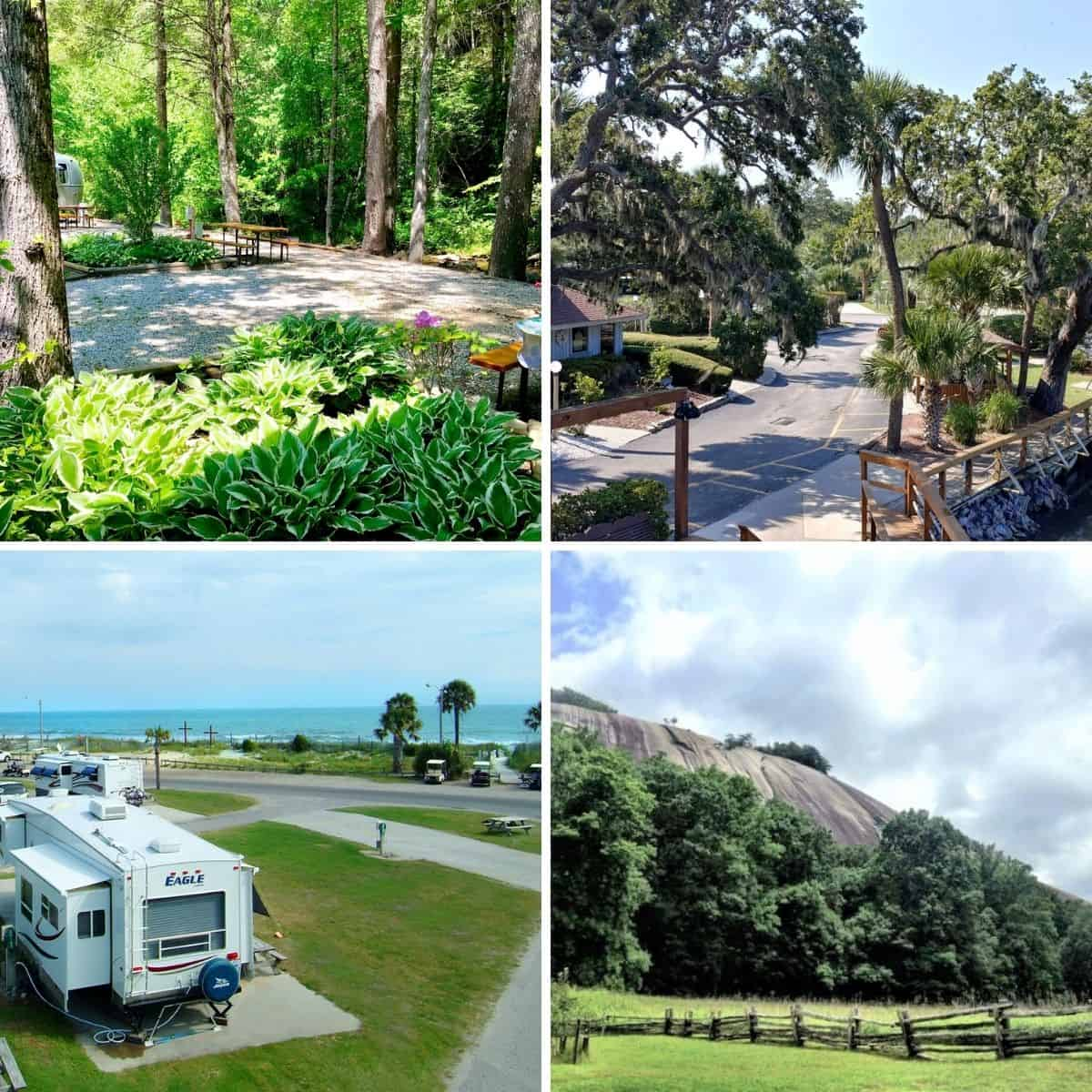 Square feature image of 4 of our favorite RV Parks in North Carolina, South Carolina, and Virginia