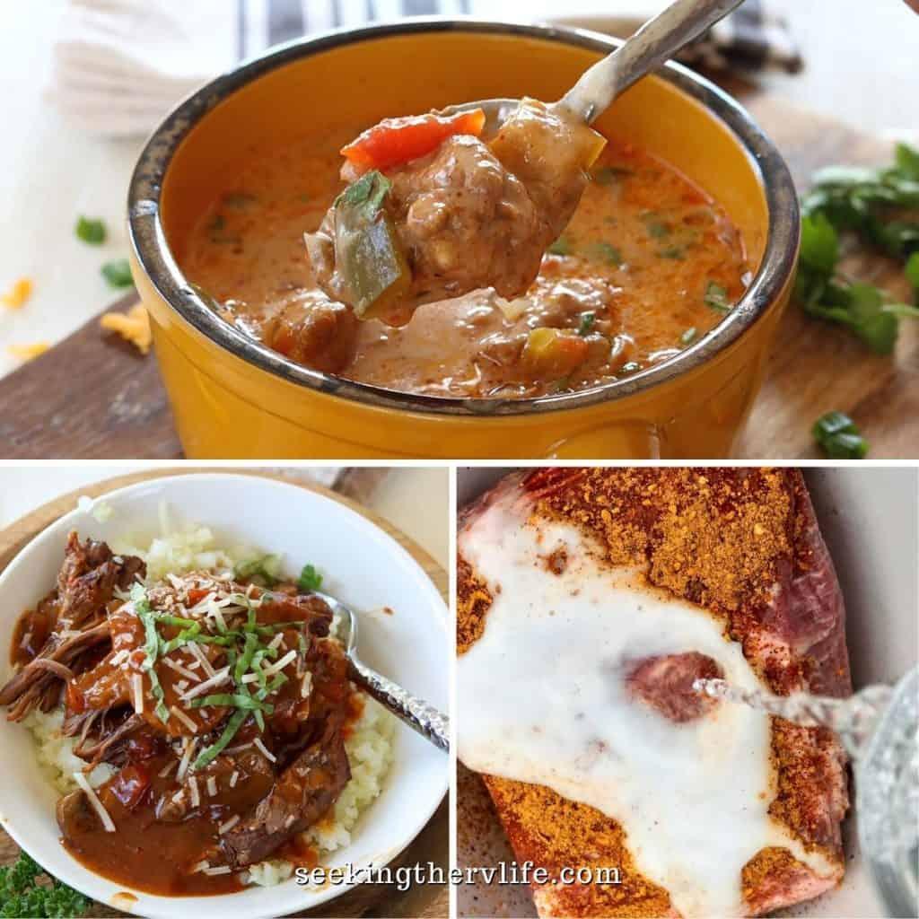 Square feature image of 3 crockpot camping recipes chicken fajita soup, italian beef pot roast, and pork roast