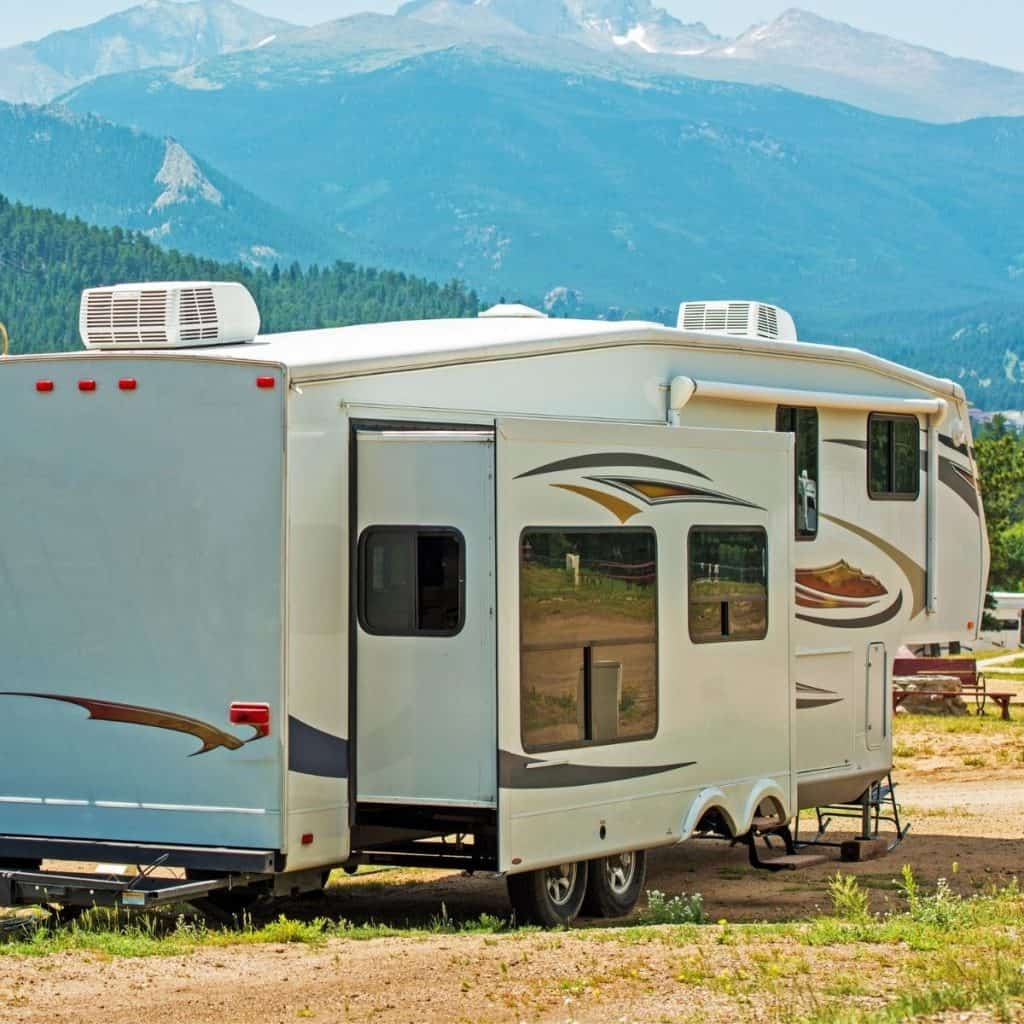 Feature image with a fifth wheel RV with slide outs extended to demonstrate RV Slide out problems.