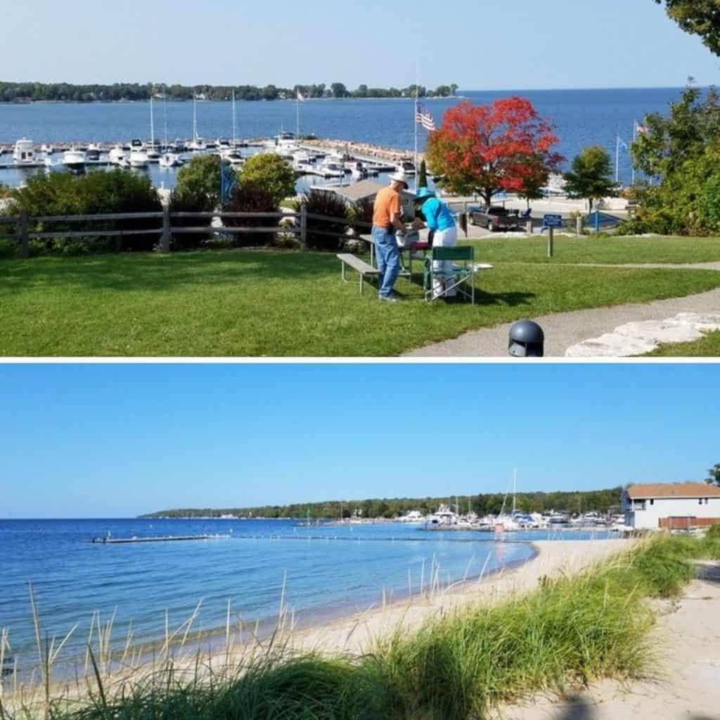 Views of Egg Harbor and Lake MIchigan. A couple picnics along the shore at the harbor.