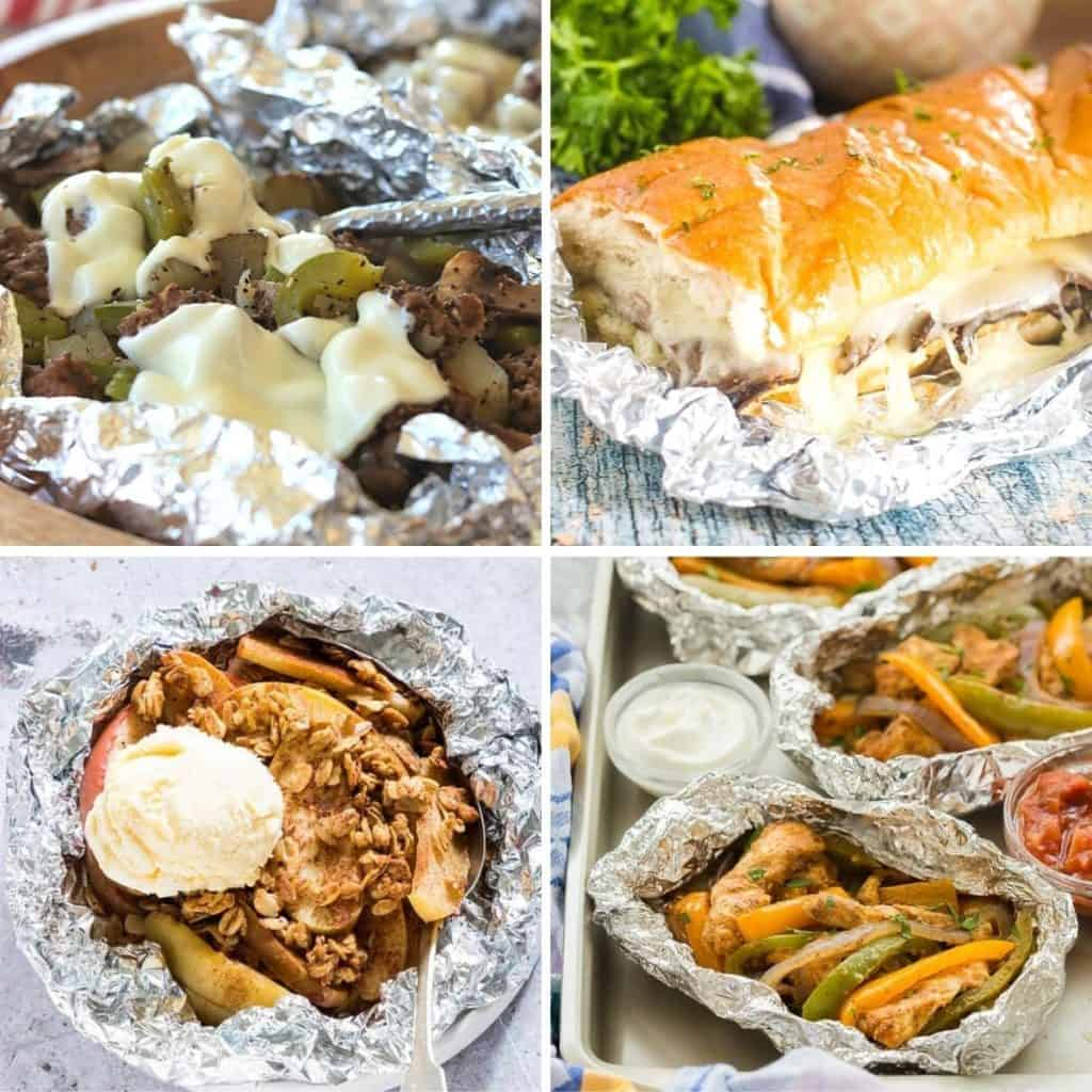 Square image featuring 4 foil packet recipes to make on your next camping or RV advenutre - Philly Cheese Steaks, Chicken Fajitas, French Dip, and Apple Crisp