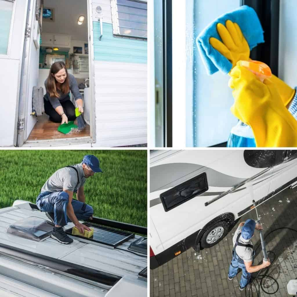 Feature image with four pictures of the inside of an RV being swept, windows being cleaned, the roof and sides getting washed.
