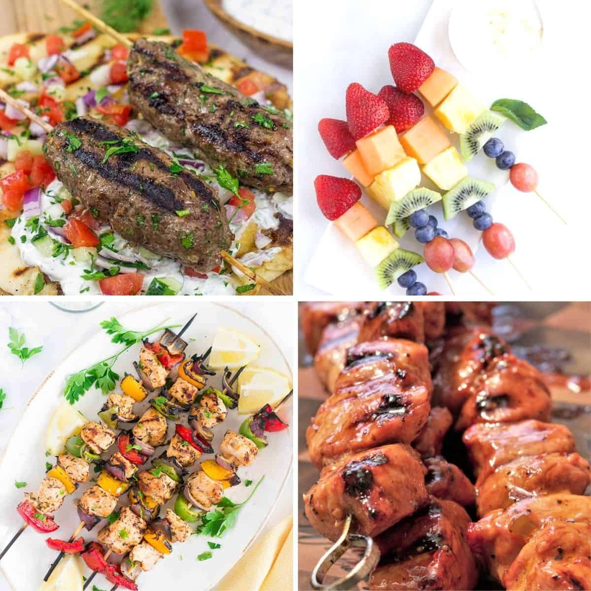 Square feature image of 4 delicious and easy kebab recipes to make while camping!