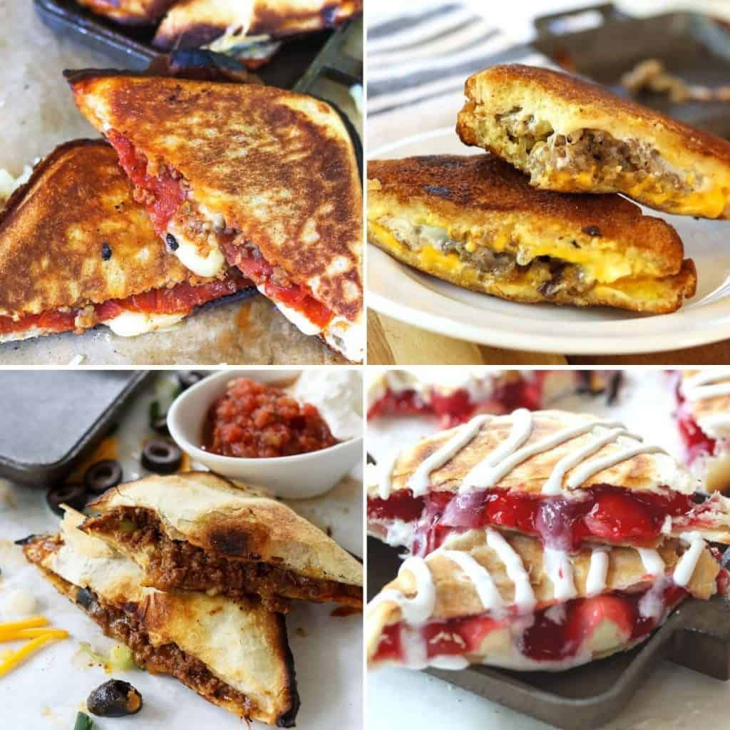 feature image of 4 tasty pie iron recipes - pizza, breakfast hobo sandwich, pie iron tacos, and cherry hand pies